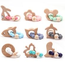Drewniana bransoletka dla niemowląt gryzak dla zwierząt kształtowana biżuteria ząbkowanie dla organicznego drewna kulki silikonowe grzechotka dla dzieci akcesoria do wózka dziecinnego zabawka