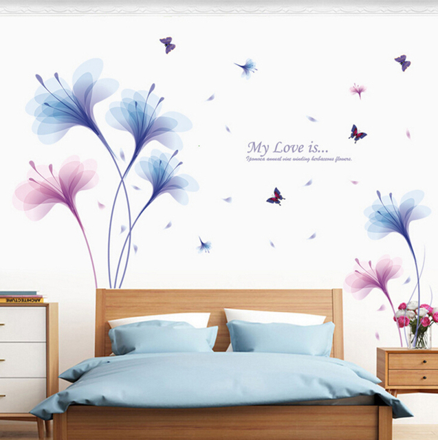 Dream Orchids Large Wall Stickers Flowers Home Decor Living Room Art Decals Wallpaper Removable