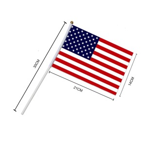 Image 3 - 5 sztuk kij flaga USA 14*21 cm ręczny mini flaga z biały słup żywy kolor i odporne na blaknięcie ręczny kij flagi