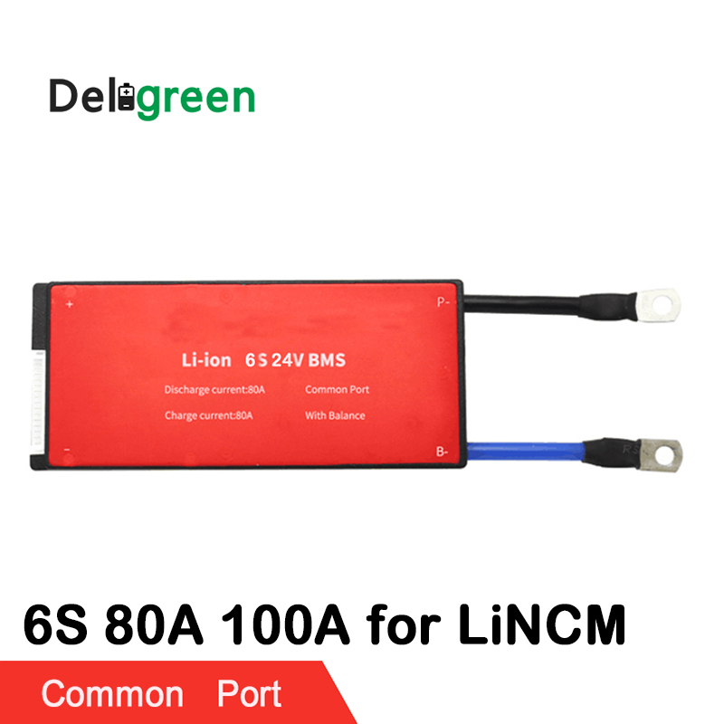 6S 80A 100A PCM PCB BMS for 24V 18650 lithium battery pack for electric bicycle and