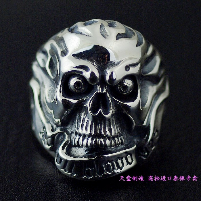 Thailand imports, 925 silver Skull Blood Skull Ring thailand imports skull blood new skeleton silver ring