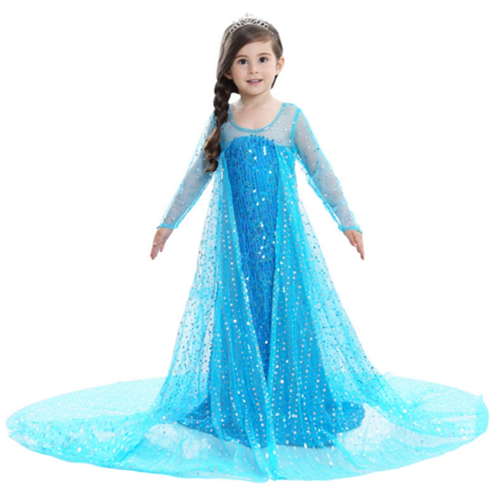 FINDPITAYA Kids Stunning Princess Fantasy Dresses with Long Train Three Quarter Sleeve Sequins Girls Elsa Cosplay Outfits Party