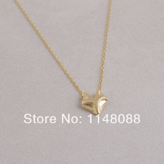 Fashion Hotting sale gold shining charming style cute noble Fox pendant Necklace for best friend gift