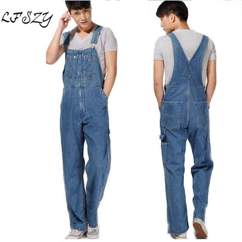 Hot 2018 Men's Plus Size Overalls Large Size Huge Denim Bib Pants Fashion Pocket Jumpsuits Male Free Shipping Brand