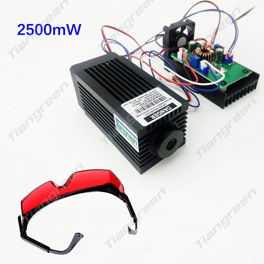 High power 2.5W Blue Light Module Diode for Laser CNC Engraving Machine 450nm 445nm Focus Power Supply 2500mw Laser Tube tgleiser 3 5w 450nm 445nm blue module cnc carving w 3500mw high power laser diode free glasses as gift
