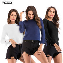 PGSD New Women clothes autumn winter Simple Pure color lace long sleeved knitted sweater Fashion O-collar Pullovers Tops female недорого
