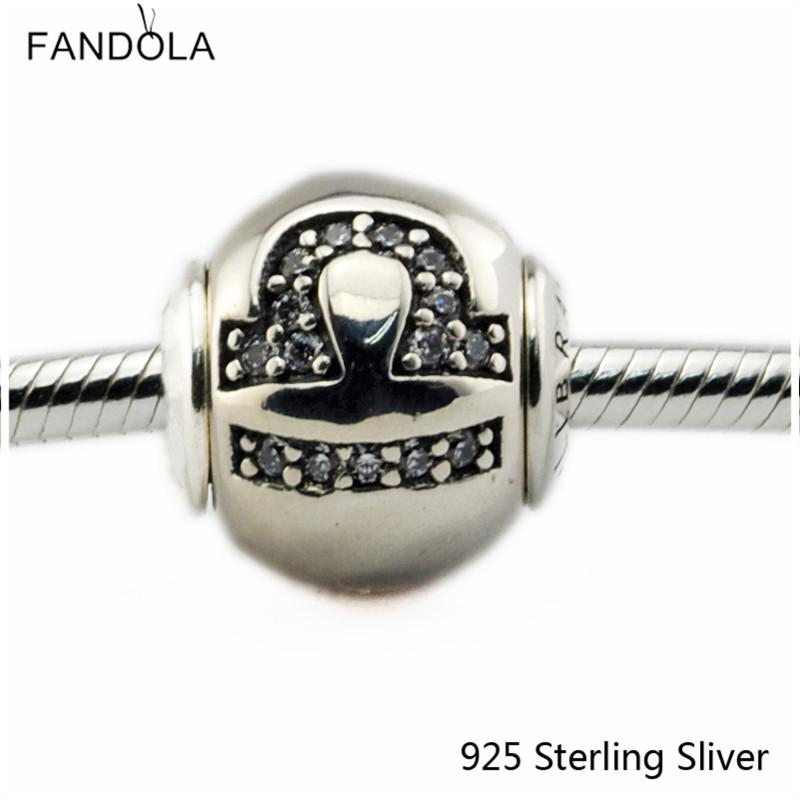 2.5MM Libra Star Sign Silver Charms Authenic 925 Sterling Silver Fit Bracelet Jewelry DIY Bead for Women Jewelry Making Gift