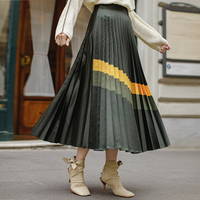 INMAN 2019 Spring Autumn New Arrival Empire Waist A Line Bottom Pleated Stripped Causal Women Skirt