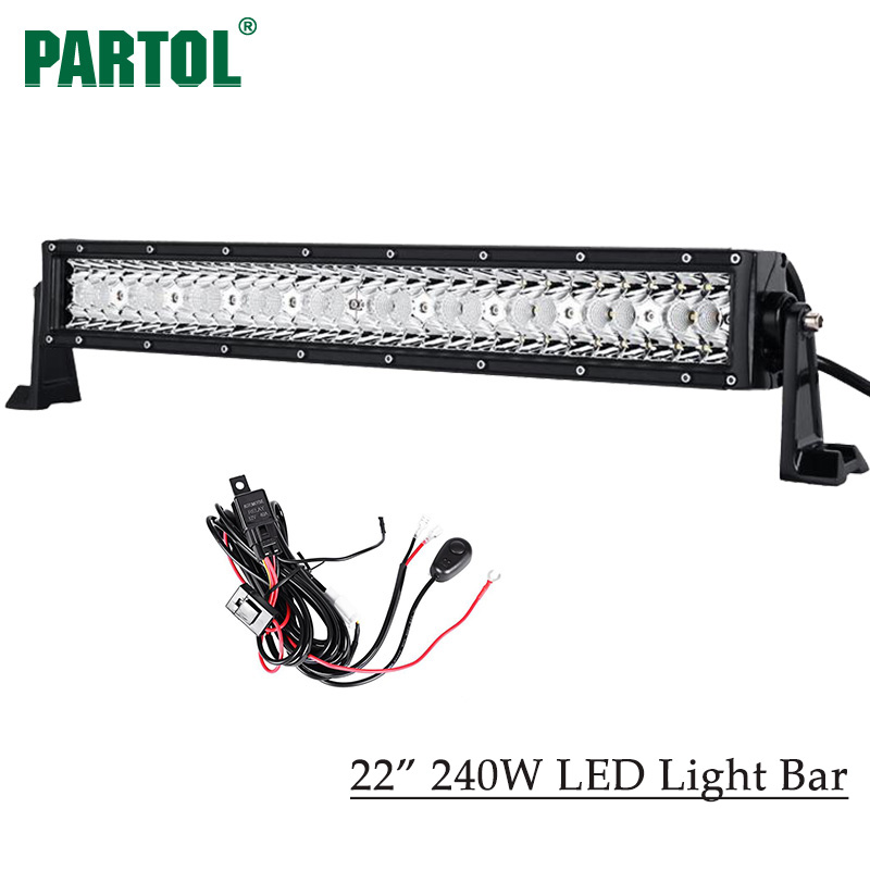 Partol CREE Chips 240W 22 Tri-row LED Work Light Bar Offroad Led Bar Spot Flood Combo Beam Truck SUV ATV 4x4 4WD Driving Lamp spotlight flood lamp combo tri row 7d led work light bar driving fog offroad led car lights ip68 108w for suv atv truck