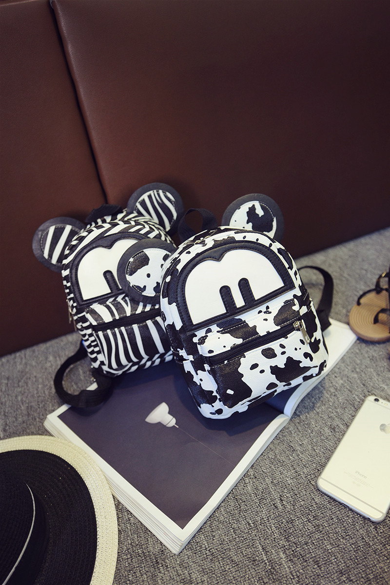 Cute MICKEY womens pu leather backpack ,ladies Mini casual small chest bag, zebra-stripe,cow pattern back pack for girls
