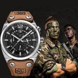 Benyar grande dial relógio do esporte dos homens à prova dwaterproof água ao ar livre militar cronógrafo de quartzo relógio de couro do exército masculino relógio relogio masculino