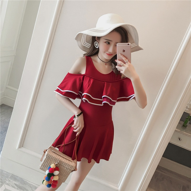 2018 new swimwear ladies ruffled covered meat slimming one piece swimsuit version of the cute conservative