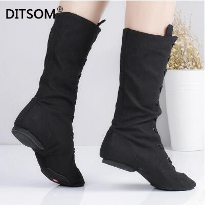 High-Dance-Boots Dancing-Sneakers Karate-Shoes Canvas Jazz Yoga-Fitness Lace-Up for Studios