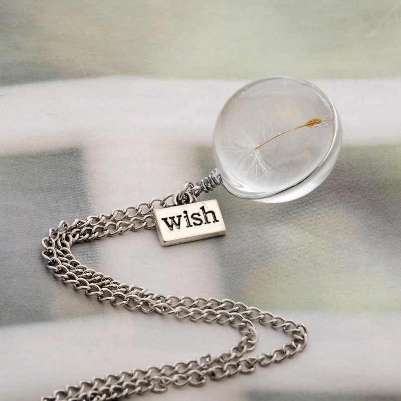 2019 สร้อยคอแฟชั่น Wish จริง Dandelion สร้อยคอคริสตัลแก้วรอบจี้สร้อยคอเงิน Choker สร้อยคอสำหรับผู้หญิง