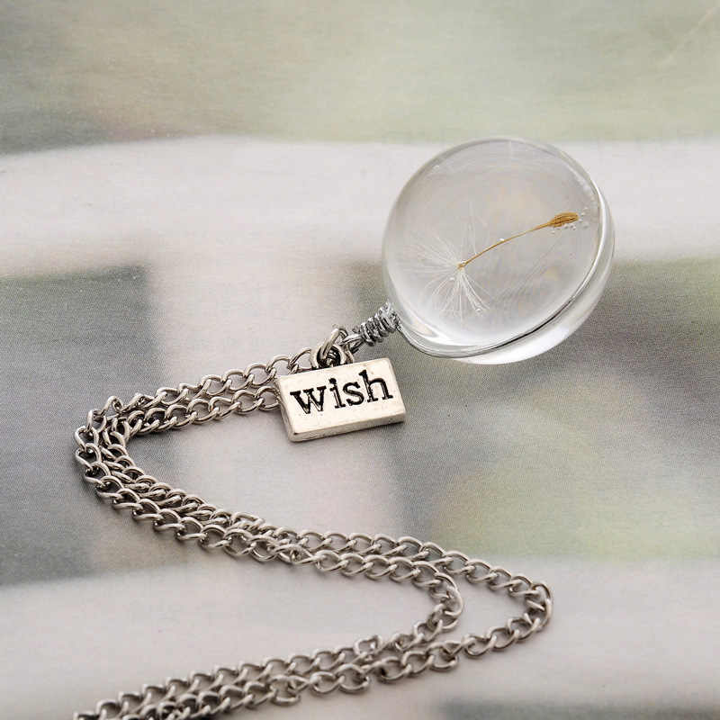 2019 modne naszyjniki chcesz prawdziwe dmuchawiec kryształ naszyjnik szkło okrągłe wisiorki naszyjnik srebrny choker łańcuszek naszyjnik dla kobiet