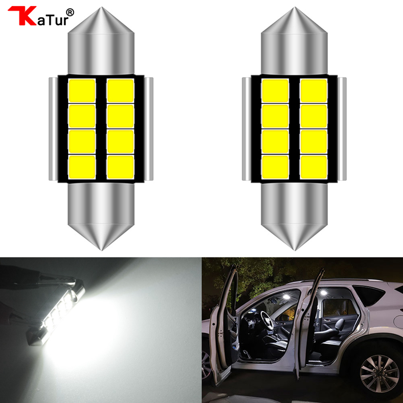 2pcs 1.25'' 31mm DE3175 DE3021 DE3022 6428 7065 LED Festoon Car Interior Lights 2835 Chipsets Aluminum CanBus Error Free Car Led