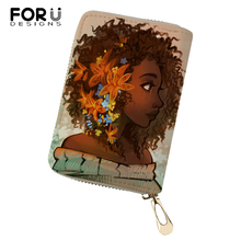 FORUDESIGNS Women PU Business Card Holder African Girls Printing Pattern Money Purses Bags Fashion Lady Cluth Wallets