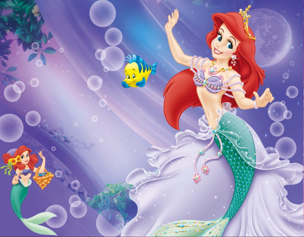 7x5ft Purple Spots Fairy Little Mermaid Ariel Princess