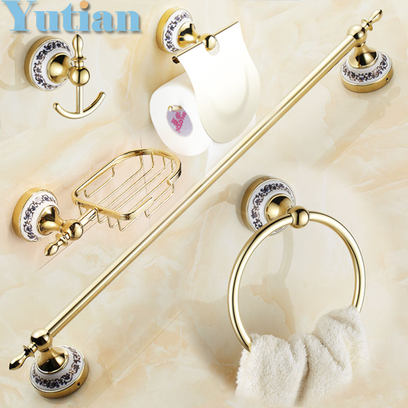 Free shipping,Stainless Steel + ceramic Bathroom Accessories ,Paper Holder,Towel Bar,Soap basket,bathroom sets,YT-11800G-5 odeon light бра odeon light cruz 2413 1w
