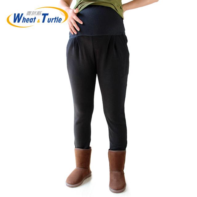 Maternidad Caliente Leggings XL XXL 3XL 4XL Terciopelo de Algodón de Invierno Negro Pantalones Legging Para Las Mujeres Embarazadas Ropa de Punto Embarazo