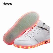 7ipupas New LED Shoes Kids Fashion High Top Light Up Luminous Sneakers Girls Boys Children Casual USB Charge Glowing Shoe Schuhe