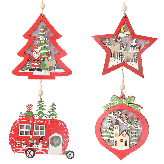 Creative Led Light Christmas Tree Hanging Pendant – Wooden Ornaments