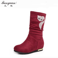 2017 Korean Style Autumn/Winter Fashion Women's Mid calf Boots Flock with Rhinestone Decoration Height Increasing Rubber Boots