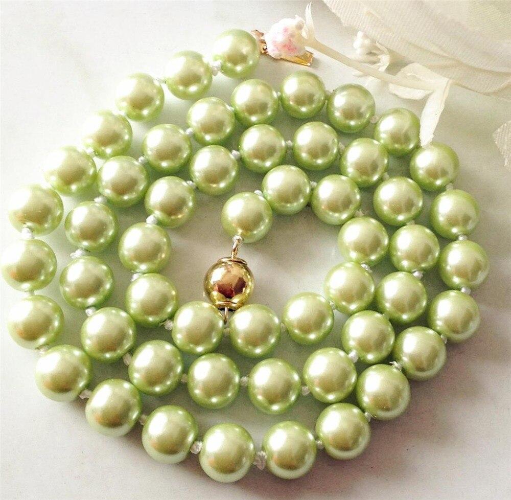 Satu Set Perhiasan Anting Dan Kalung Berlapis Tiga Yang Dihiasi 1 Batu 2017 8mm Pucat Kuning South Sea Shell Mutiara Jewelry Rope Rantai Pearl Beads