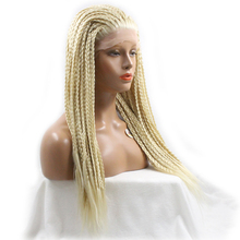 DLME Platinum Full Box Braids Synthetic Lace front Blonde Wig 20Inch African American braided wigs For White/Black women