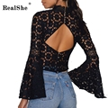 RealShe 2017 Women Black Blusa Sexy Turtleneck Ruffles Sleeve Woman Top Casual Backless Lace Tops