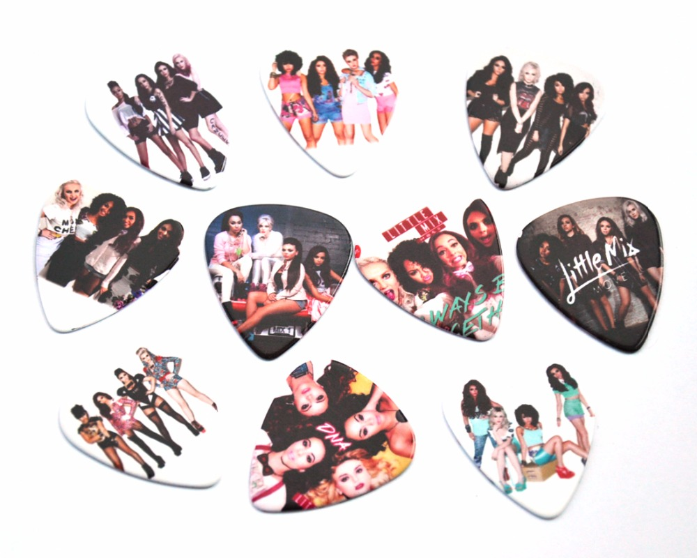 Lots of 10Pcs Girl Group Little mix 2 sides printing Guitar Picks Plectrums Medium size 0.71mm