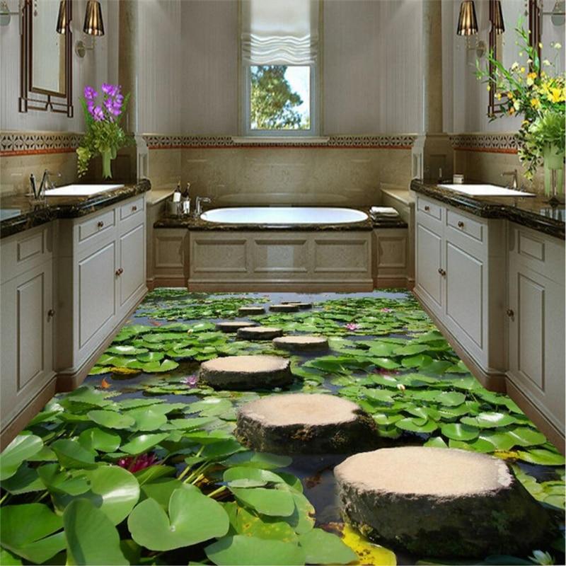 beibehang foto de encargo piso pintura desgaste grueso pvc estanque estanque de peces de colores de piedra piso d papel de par