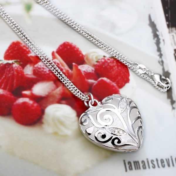 Sterling Silver 925 Jewelry  925 Sterling Silver Jewelry Carven Flower Hollow Heart Torques Pendant Necklaces N224