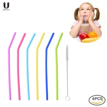 Uarter 6PCS Reusable Drinking Straws Food-grade Silicone Straws Colorful Drinking Straw Set with Cleaning Brush