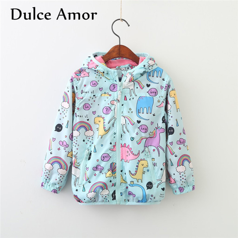 Dulce Amor Girls Unicorn Jacket Boys Coat Baby Kids Clothing Autumn Children Long Sleeve Graffiti Hooded Outerwear Drop Shipping