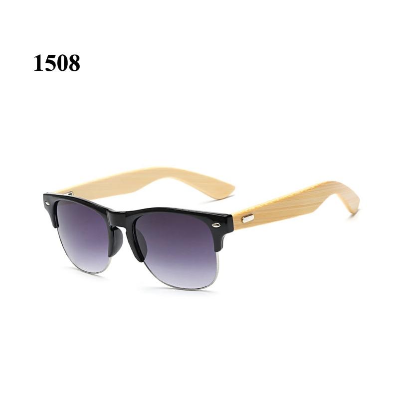 Retro dřevěné sluneční brýle Men Classic Semi rimless rám jízdy sluneční brýle pro ženy Bamboo zbraně odstíny UV400 Lunette De Soleil