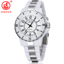 Ohsen Women Watches Waterproof Sport 7 Multi-color Led Back Light Clock top Brand Wrist Watch Quartz Relogio Esportivo Feminino