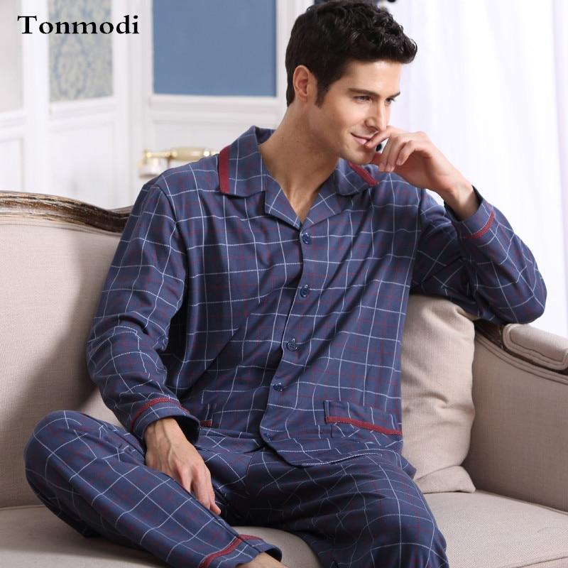 Moška pižama spomladanska jesen Spalna oblačila z dolgimi rokavi - Spodnje perilo