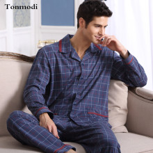 Mens Pajamas Spring Autumn Long Sleeve Sleepwear Cotton Plaid Cardigan