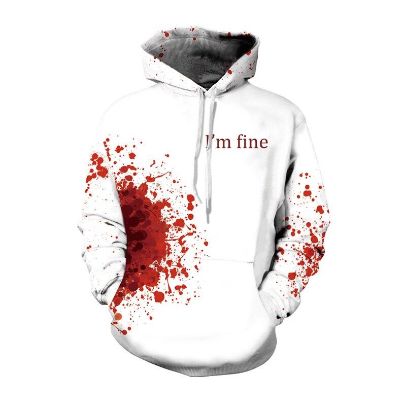 Horror Wound 3D Hoodie Cool Pullover White Halloween Mens Hoodies Sweatshirts I AM FINE Print Male Hoddies Hooded Christmas