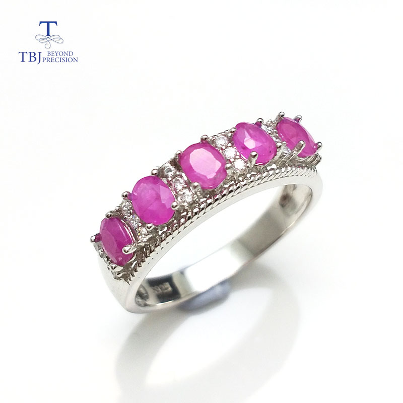 TBJ simple design ring with 100 natural real india ruby gemstone in 925 sterling silver fine