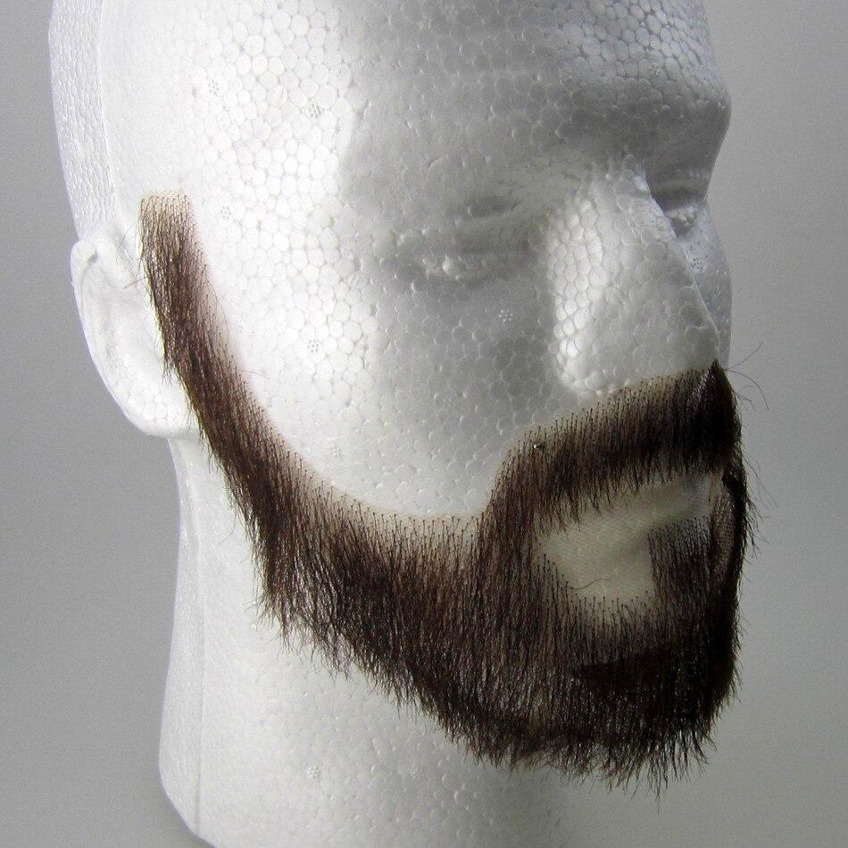 2018 vente chaude de cheveux humains dentelle barbe, handtied invisibilité Célébrité moustache et barbe moustaches livraison gratuite