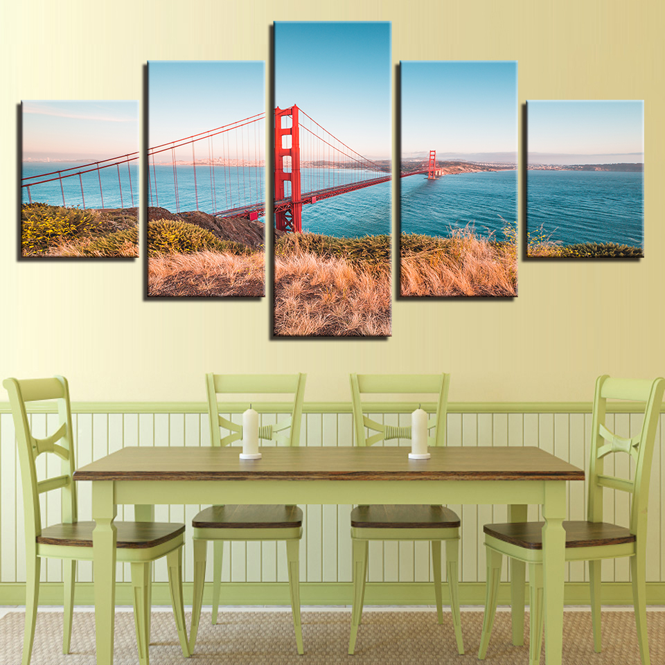Canvas Paintings Home Decor Modular Wall Art 5 Pieces Golden Gate ...