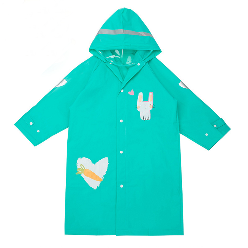 Rainsuit Men And Women Children Raincoat Green Eva Hooded Baby Poncho Rain Gear Coat Rainwear Student Cartoon Animal Style
