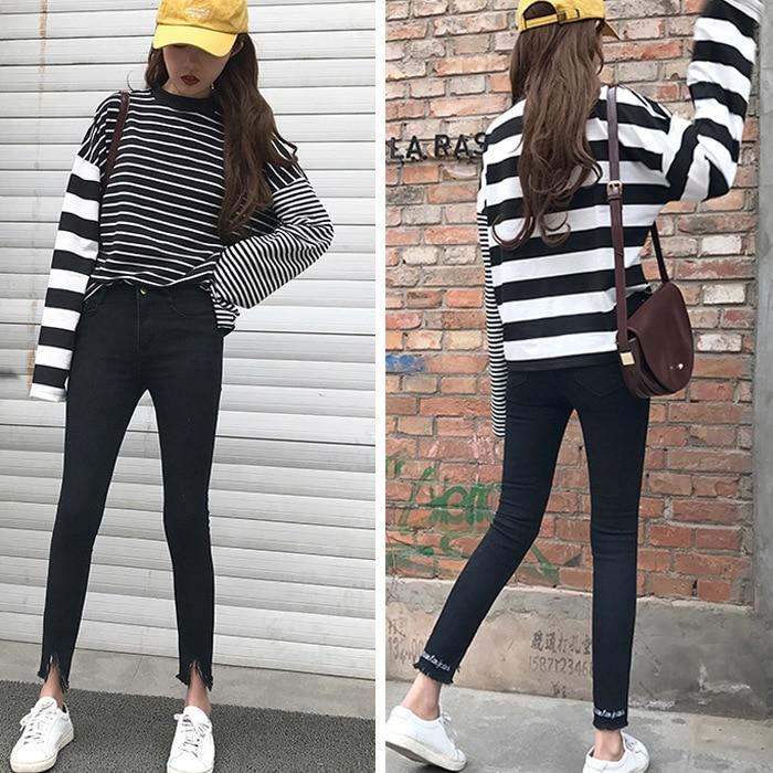 ФОТО Brand New 2017 Womens High Waist Jeans Denim Black Letter Appliques Full-Long Plus Size Pencil Jeans Woman
