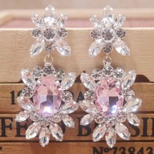 Zerong jewelry pink rhinestone dangling  gold crystal earring silver shiny lady wedding /party bridal deoration