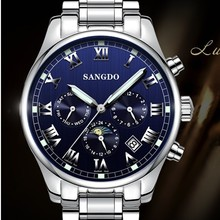 42MM SANGDO moon phase men s watch Automatic Self Wind movement Sapphire mirro High quality 2016