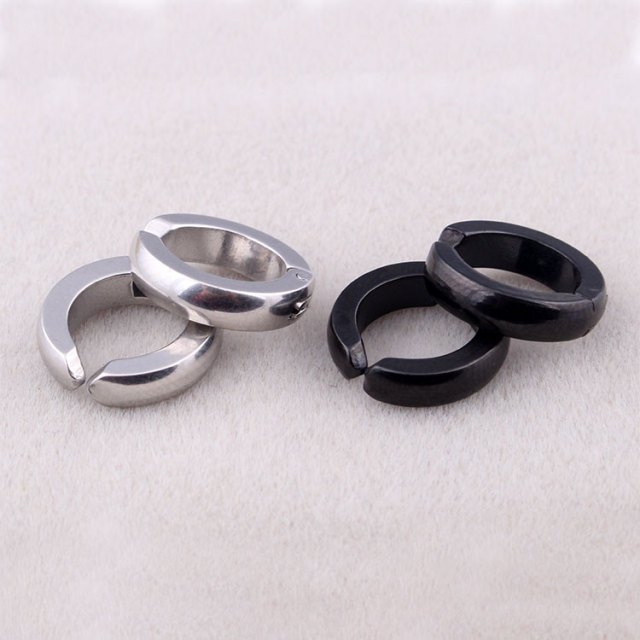Fashion Mens Non Piercing Hoop Earrings Silver Black Stainless Steel Fake Small Huggie