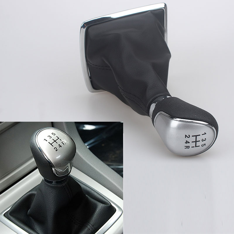 Ручка переключения передач с кожаным чехлом для Ford Focus 2 2005 2006 2007 2008 2009 2010 2011 C-Max Kuga Fiesta MK2, 5 скоростей