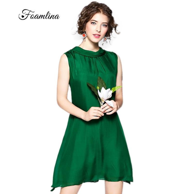 Foamlina Femmes de Soie Robe Vert D'été Robes Halter Cou Sans Manches Large Taille A-ligne Casual Beach Party Robe Robes